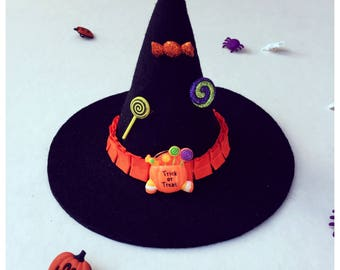 Little Witch Hat Headband / Black Witch Hat / Candy Witch Hat / Baby Witch Accessories