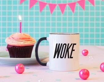 Woke Coffee Mug, Logo Parody, Stay Woke