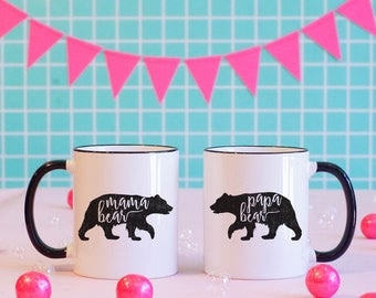 Mama Bear Papa Bear Matching Black Rimmed Mug Set, Pregnancy Announcement Mug, Baby Shower Gift, New Parents Mug,