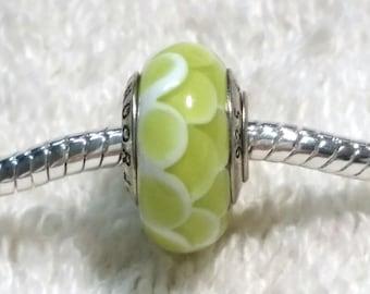 Lime Colored Murano Pandora Glass Bead