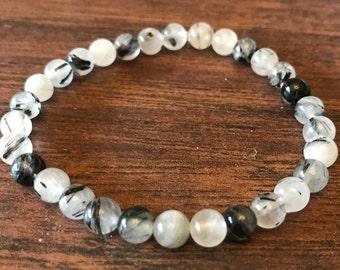 Black Rutilated Quartz Stretch Bracelet - 6mm beads