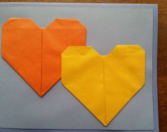Handmade Blue, Orange, and Yellow Greeting Card with Hearts