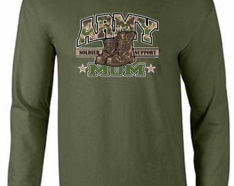 Army Mom U.S. Army Military Infantry Calvary Airborne Long Sleeve Tee Shirt