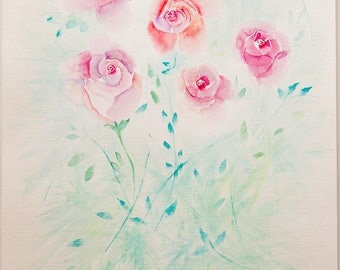 Roses Original Watercolor Painting Art Work by AliiArtColors