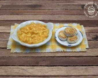 Dollhouse Miniature Macaroni and Cheese with Buttermilk Biscuits