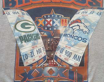 Vintage Denver Broncos vs Green Bay Packers Superbowl XXXII 1999 Vintage 90s Football T Shirt Starter size Large