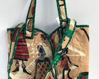 African tribal and Green Shweshwe Tote bag