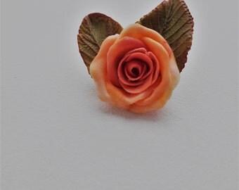 Handmade rose blossom brooches cold porcelain