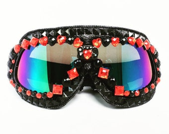 Queen of Hearts Burning Man Goggles, Burning Man, Handmade Goggles, dust goggles.