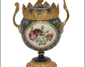 Wooden treasure cup, Rococo style, Imitation porcelain, Decoupage
