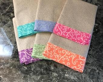 Cloth Napkins, set of 6 - Rainbow Swirls