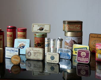 Batch of old 1950-1980's metal boxes / french medicine boxes / cigars boxes / biscuits, candies and sweets boxes / vintage boxes