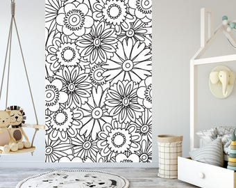 Removable Wallpaper For Coloring Mural Peel Stick Kids And Adults Zentangle Floral Pattern