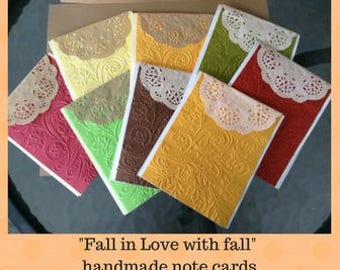 Fall In Love With Fall Note Cards; Set Of 4 With Envelopes. Perfect For