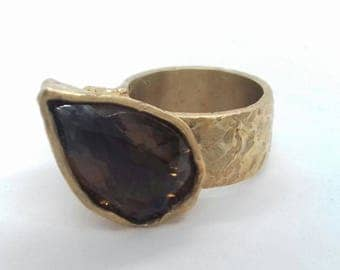 BROOKLYN Rings-Custom Collection-yellow bronze ring with large smoky quartz and cubic Zirconia cut to drop