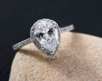 pear engagement ring engagement ring pear simple wedding ring setmoissanite engagement ring solitaire - Simple Wedding Ring Sets