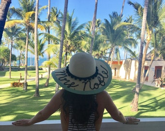 "Custom Mrs. ""Honeymoon"" Floppy Sequin Sun Hat"