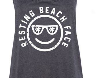 Resting Beach Face Racerback Tank Top