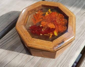 Vintage Wood Resin Flower Leaf Jewelry Trinket Box