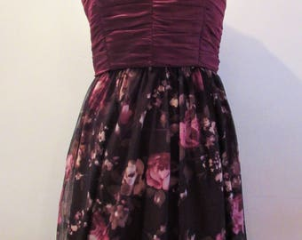 Purple floral mesh dress with ruched bodice and thin straps