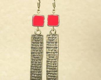 Antique Bronze Earrings Bronze Earrings Bohemian Earrings Gypsy Earrings Red Earrings Dangle Earrings Boho Jewelry Hippie Earrings