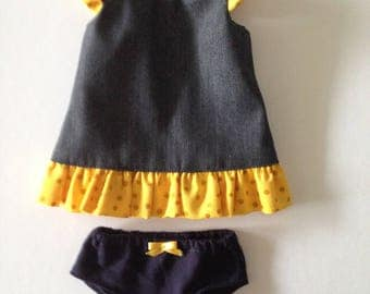 Miniland Doll dress - Denim and yellow with gold sparkle spots