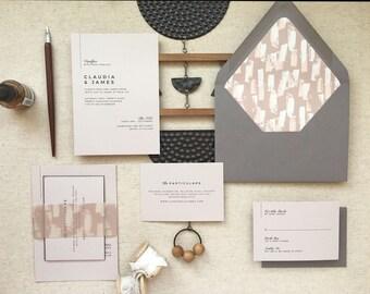 DOWNTOWN SUITE - Modern Wedding Invitation, Minimalist Wedding, Minimalist Wedding Invitations, Gray Wedding Invitation