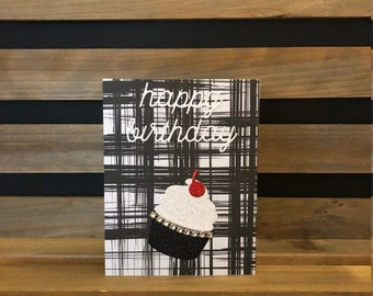 Blingy Happy Birthday Card, Glittery Cupcake with a Glittery Cherry on Top, Rhinestone Accents, Die Cut Cupcake and Happy Birthday Sentiment