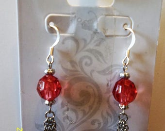 Cherry Glass Bead & Chain Earrings