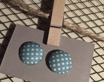 Polka dot Earrings/Button Earrings/Fabric Earrings/ Teal and White