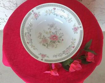 2- Lovely soup cereal bowls Kensington Gardena #1560 International Porcelain Fine China Pink Floral Vintage