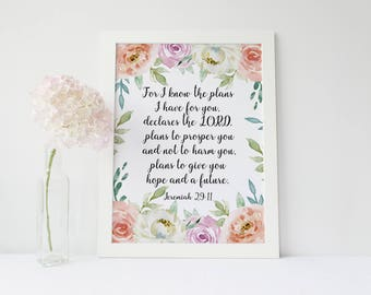 Jeremiah 29 11, For I Know The Plans I Have For You, Bible Verse Sign, Bible Verse Poster, Scripture Signs, Scripture Poster, Printable art