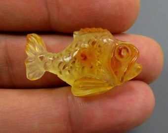 Exclusive 1.98 grams Lemon Natural Genuine BALTIC AMBER Sculpture Hand carved Figurine FISH