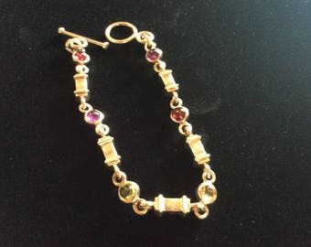 Sterling bracelet with colored stones