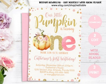 Pumpkin Invitation First Birthday, Our Little Pumpkin 1st birthday Invite, Pink and Gold, Girl Fall invitation, Instant download, Editable