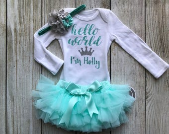Baby Girl Coming Home Outfit in Aqua / Mint - Personalized Baby Girl Outfit - Girl Hello World Outfit - Newborn Photos