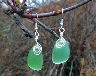 Wire Wrapped Green Sea Glass Earrings