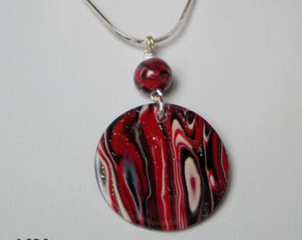 Red and black circle pendant necklace