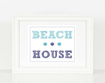 Beach House Print | Beach House | Beach | Summer | Digital Print | Instant Download | Wall Art