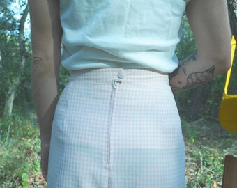 Gingham skirt french Vintage from 1970's - 80 squares, pink, white