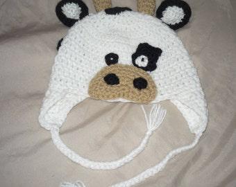 Crochet Cow hat Newborn to Kids sizes Photo Prop Gift