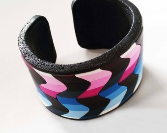Polymer Clay Bargello Cuff Bracelet