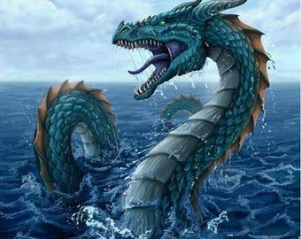 Water Dragon  Cross Stitch Pattern