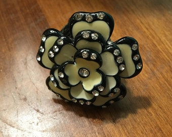 Black and White Rose Vintage Inspired Adjustable Ring