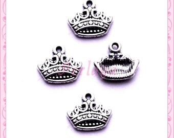 Set of 15 small silver crowns REF1487X3 charms