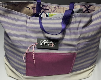 Purple stripes Shopping Bag with pockets inside and outside