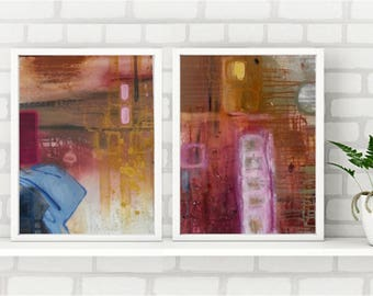Colourful abstract canvas diptych