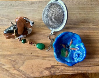 Basset Hound Tea Infuser with blue dish - Handmade Dog Tea Infuser/Steeper