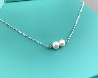 Small Double Pearl Necklace, pearl necklace, gifts for her, bridal jewelry, minimalist jewelry, modern pearl jewelry, layering necklace