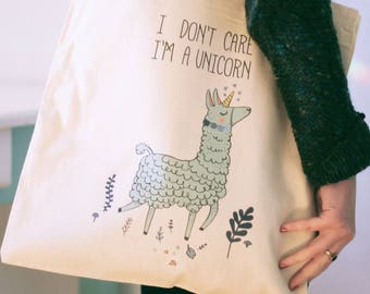 Tote bag, I don't care I'm a unicorn, Gift for her, Alpaca funny